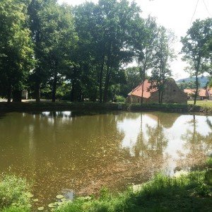 Pohled na sýpku přes zámecký rybník
